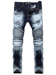 Acid Wash Ripped Biker Jeans -