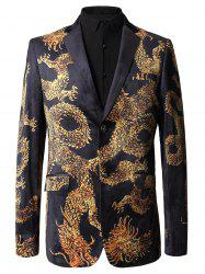 Single Breasted Dragon Print Velvet Blazer -