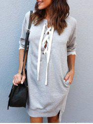 Front Lace Up High Low Sweatshirt Dress -
