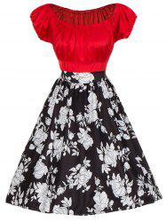 Vintage Colorblock Floral Print Pinup Dress -