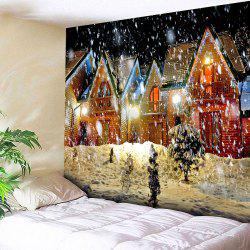Waterproof Christmas Snowy Evening Pattern Wall Hanging Tapestry -