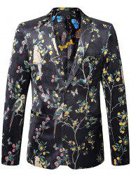 Birds in the Trees Print Velvet Blazer -