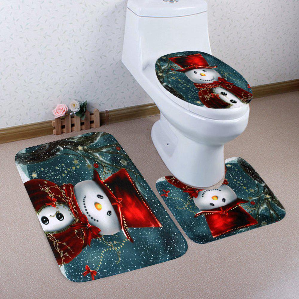 Chic Christmas Cloak Snowman Pattern 3 Pcs Bath Mat Toilet Mat