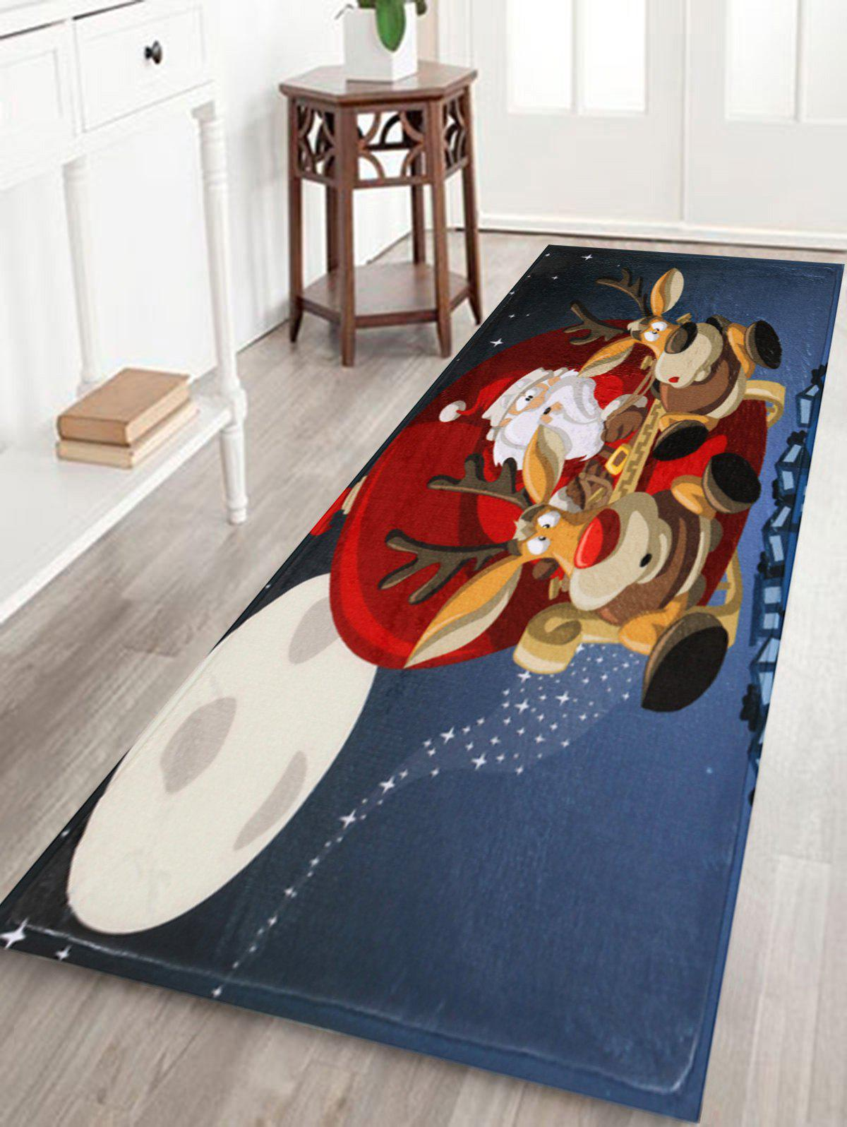 Santa Claus Reindeer Antiskid Christmas Bath RugHOME<br><br>Size: W24 INCH * L71 INCH; Color: BLUE; Products Type: Bath rugs; Materials: Coral FLeece; Pattern: Animal,Santa Claus; Style: Festival; Shape: Rectangular; Package Contents: 1 x Rug;