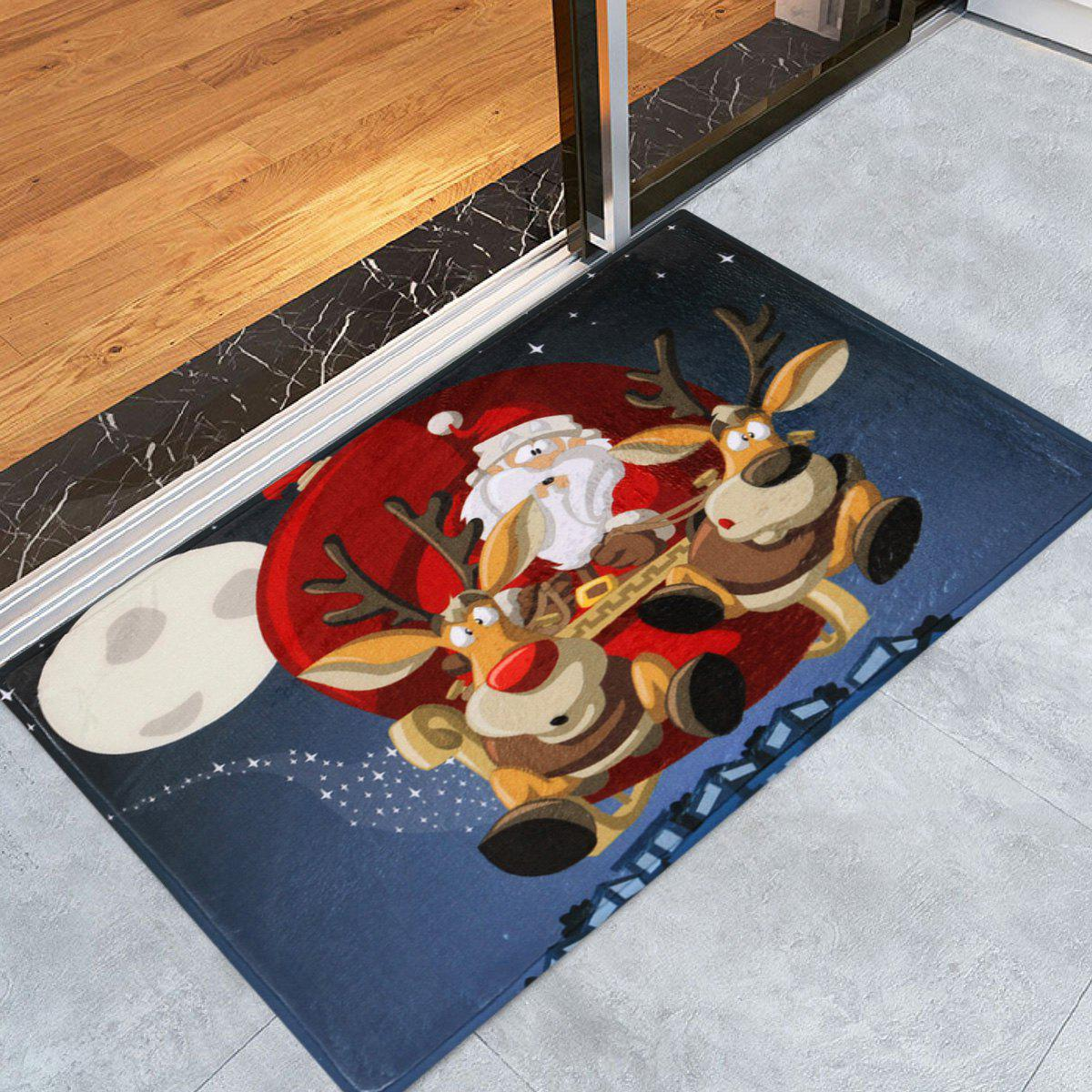 Santa Claus Reindeer Antiskid Christmas Bath RugHOME<br><br>Size: W24 INCH * L35.5 INCH; Color: BLUE; Products Type: Bath rugs; Materials: Coral FLeece; Pattern: Animal,Santa Claus; Style: Festival; Shape: Rectangular; Package Contents: 1 x Rug;