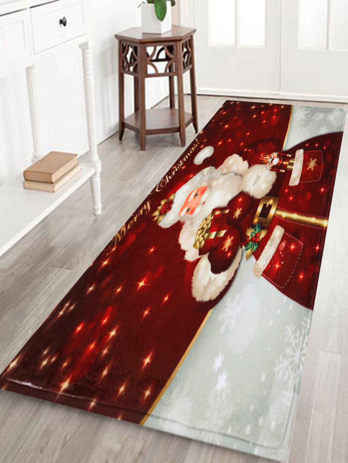 Christmas Santa Claus Antislip Bath MatHOME<br><br>Size: W16 INCH * L47 INCH; Color: DARK RED; Products Type: Bath rugs; Materials: Coral FLeece; Pattern: Santa Claus; Style: Festival; Shape: Rectangular; Package Contents: 1 x Rug;