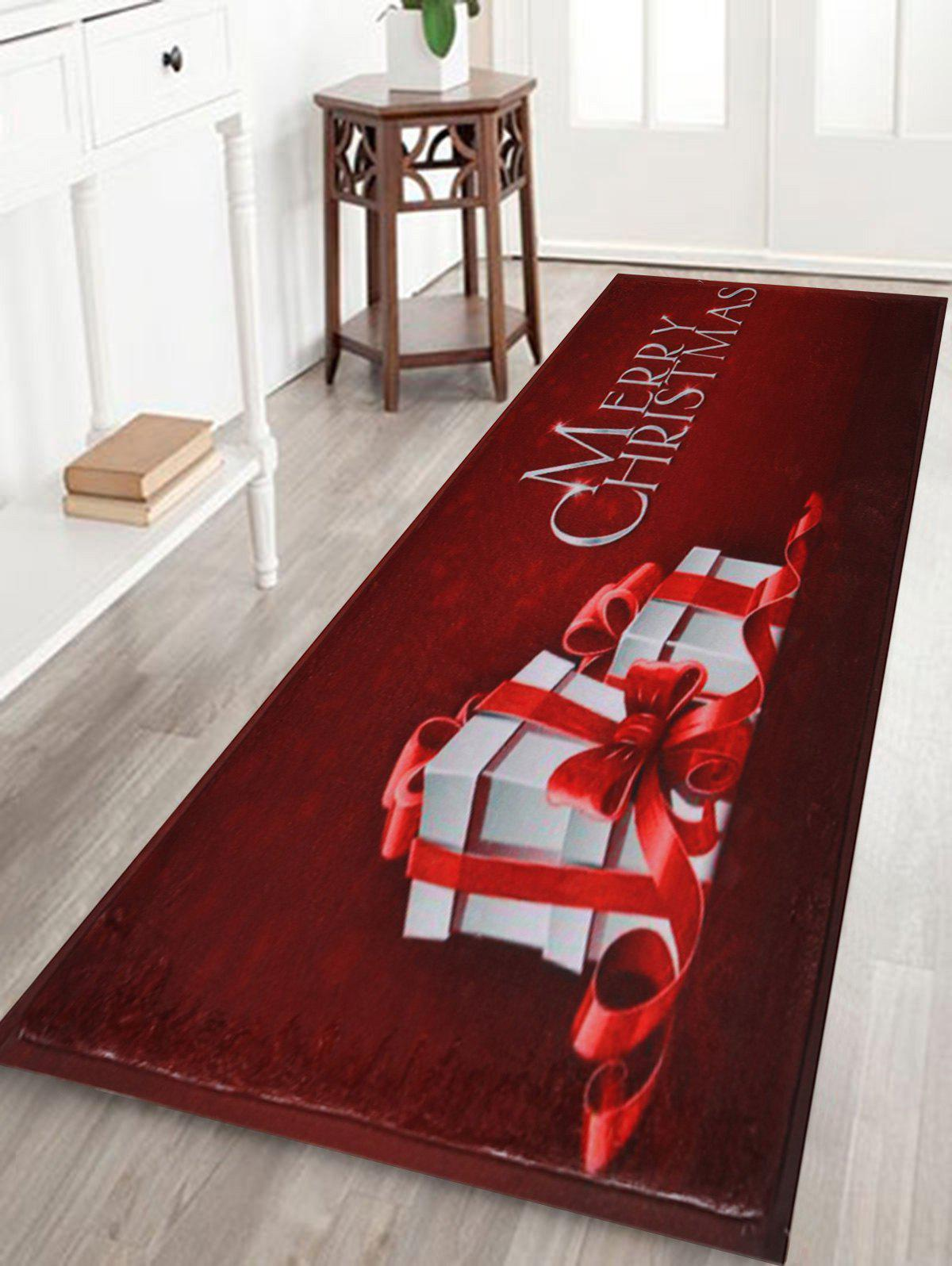 Merry Christmas Gift Skidproof Area RugHOME<br><br>Size: W16 INCH * L47 INCH; Color: DARK RED; Products Type: Bath rugs; Materials: Coral FLeece; Pattern: Gift,Letter; Style: Festival; Shape: Rectangular; Package Contents: 1 x Rug;