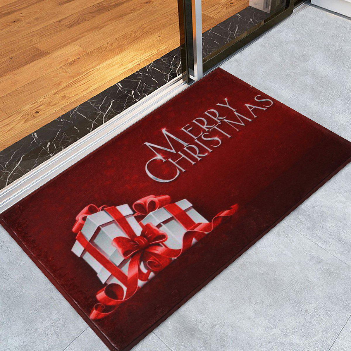 Merry Christmas Gift Skidproof Area RugHOME<br><br>Size: W24 INCH * L35.5 INCH; Color: DARK RED; Products Type: Bath rugs; Materials: Coral FLeece; Pattern: Gift,Letter; Style: Festival; Shape: Rectangular; Package Contents: 1 x Rug;