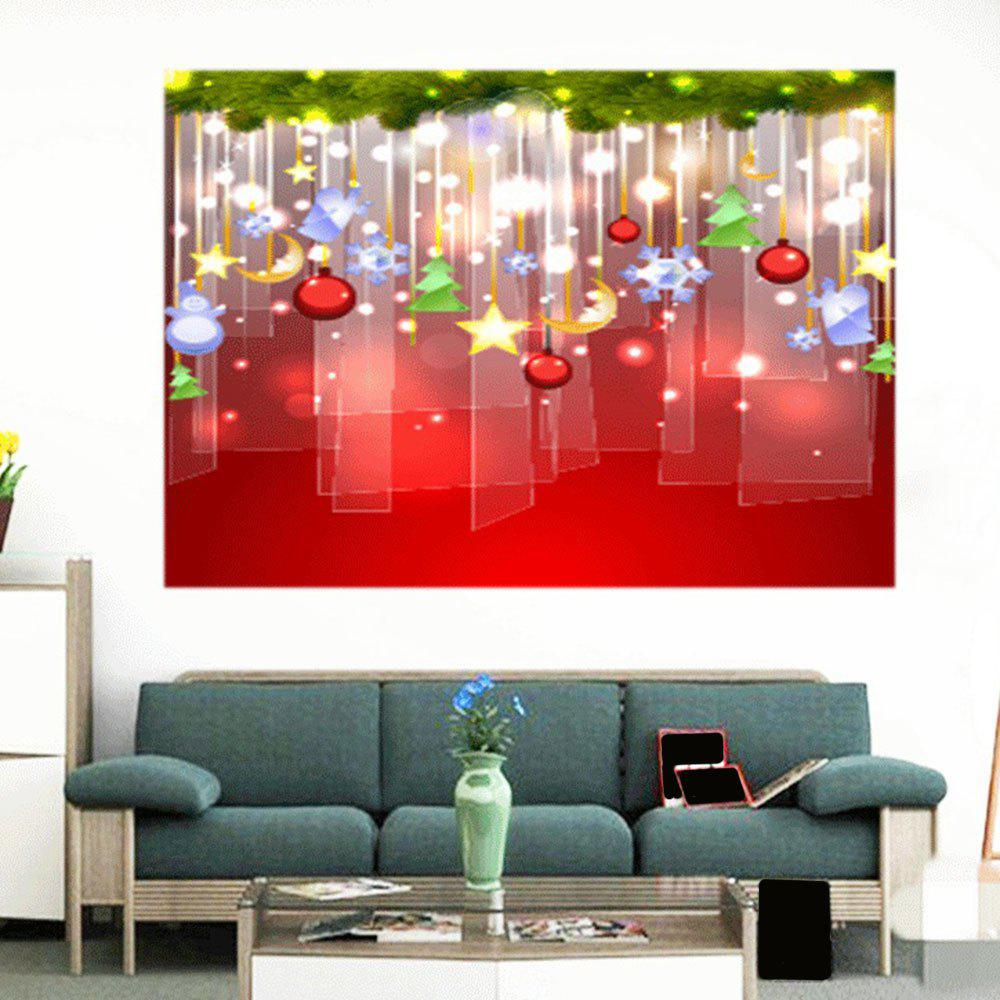 Store Waterproof Christmas Baubles Pattern Stick-on Wall Art Painting