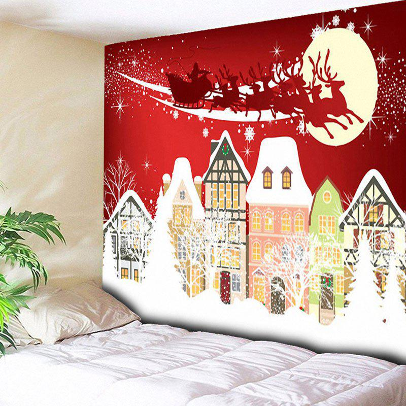 Christmas Sled Town Moon Print Wall TapestryHOME<br><br>Size: W79 INCH * L59 INCH; Color: RED; Style: Festival; Theme: Christmas; Material: Cotton,Polyester; Feature: Removable,Washable; Shape/Pattern: Buildings,Moon; Weight: 0.3000kg; Package Contents: 1 x Tapestry;