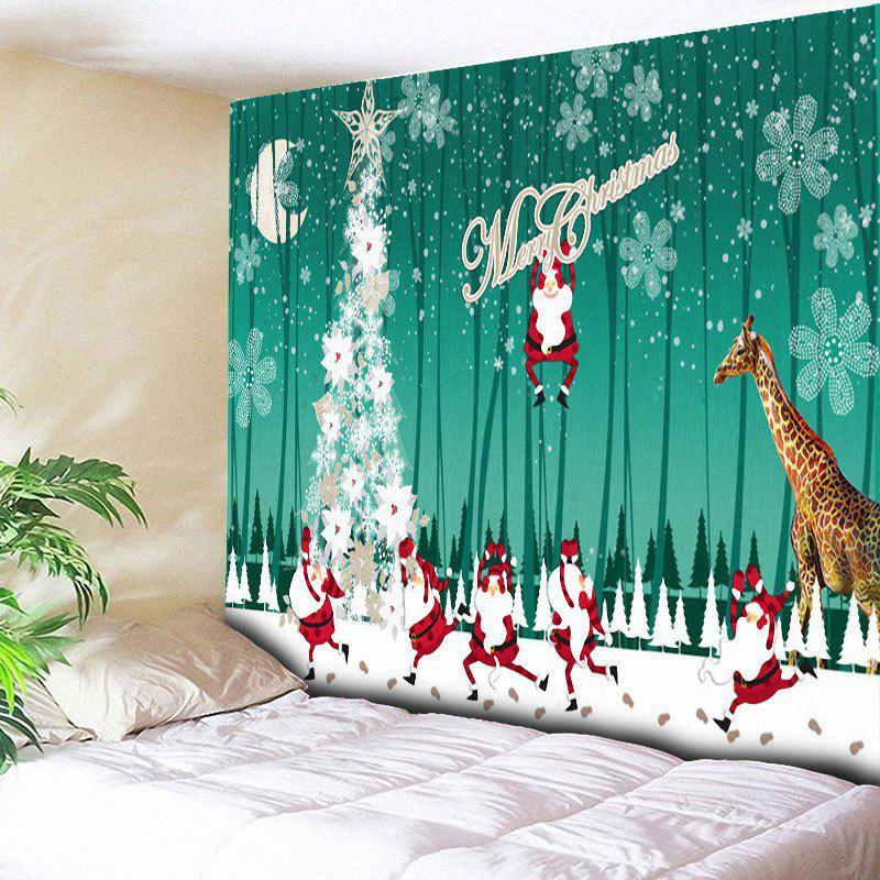 Christmas Tree Giraffe Santa Claus TapestryHOME<br><br>Size: W79 INCH * L59 INCH; Color: GREEN; Style: Festival; Theme: Christmas; Material: Cotton,Polyester; Feature: Removable,Washable; Shape/Pattern: Animal,Santa Claus; Weight: 0.3000kg; Package Contents: 1 x Tapestry;