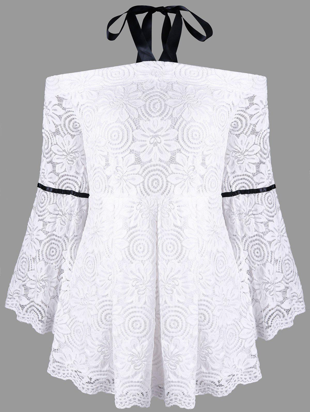 Plus Size Flare Sleeve Lace Halter Neck BlouseWOMEN<br><br>Size: 5XL; Color: WHITE; Material: Cotton Blends,Nylon; Shirt Length: Regular; Sleeve Length: Full; Collar: Halter Neck; Style: Fashion; Season: Fall,Spring; Sleeve Type: Flare Sleeve; Embellishment: Lace; Pattern Type: Floral; Weight: 0.3500kg; Package Contents: 1 x Blouse;
