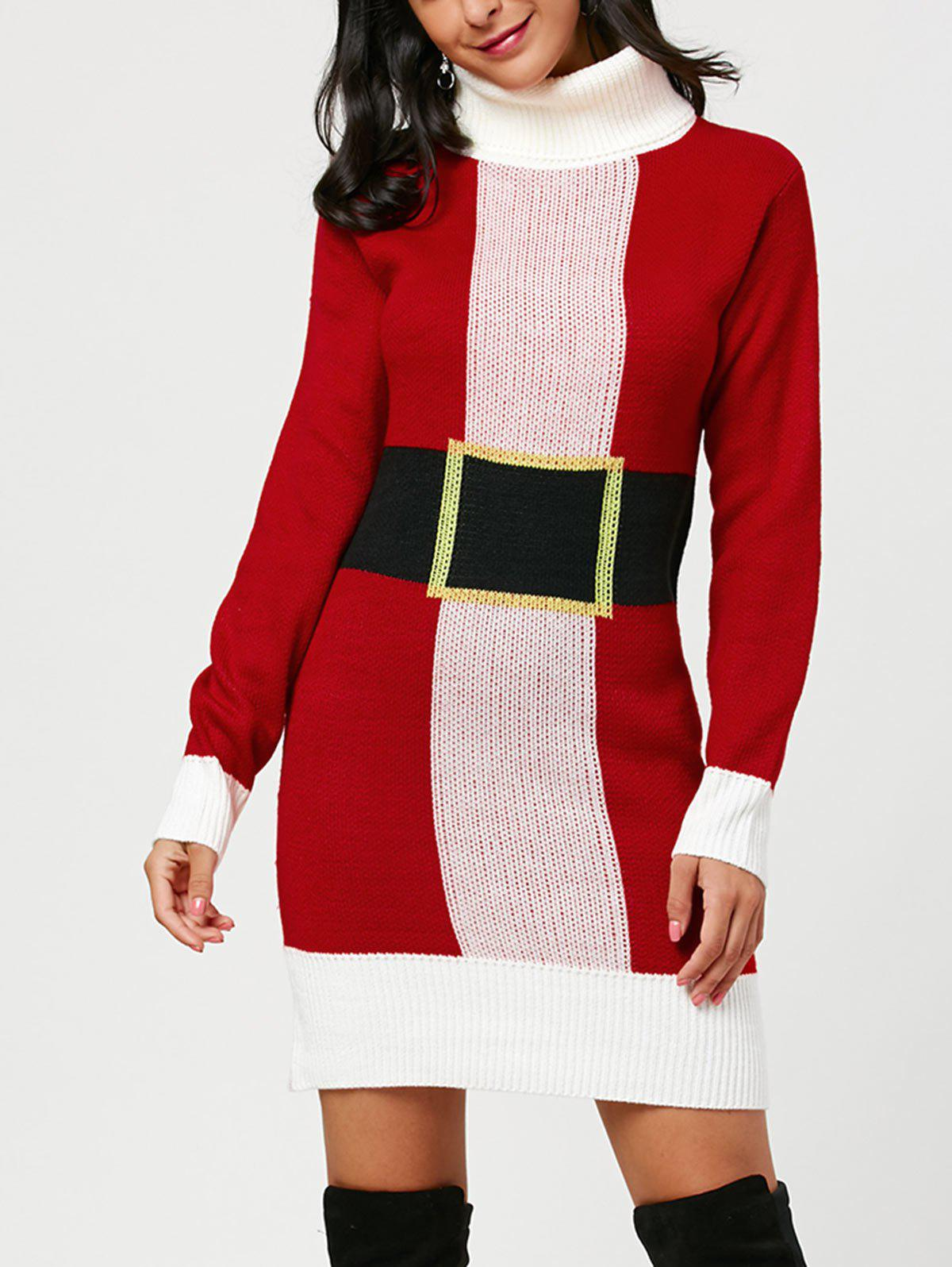 Trendy Christmas Turtleneck Mini Tight Sweater Dress