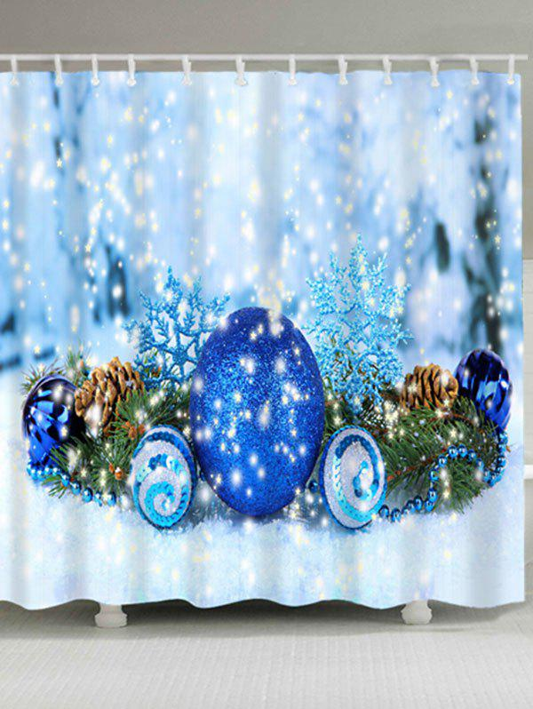 Christmas Ball Waterproof Fabric Shower CurtainHOME<br><br>Size: W71 INCH * L71 INCH; Color: ICE BLUE; Products Type: Shower Curtains; Materials: Polyester; Pattern: Ball; Style: Festival; Number of Hook Holes: W59 inch*L71 inch: 10; W71 inch*L71 inch: 12; W71 inch*L79 inch: 12; Package Contents: 1 x Shower Curtain 1 x Hooks (Set);