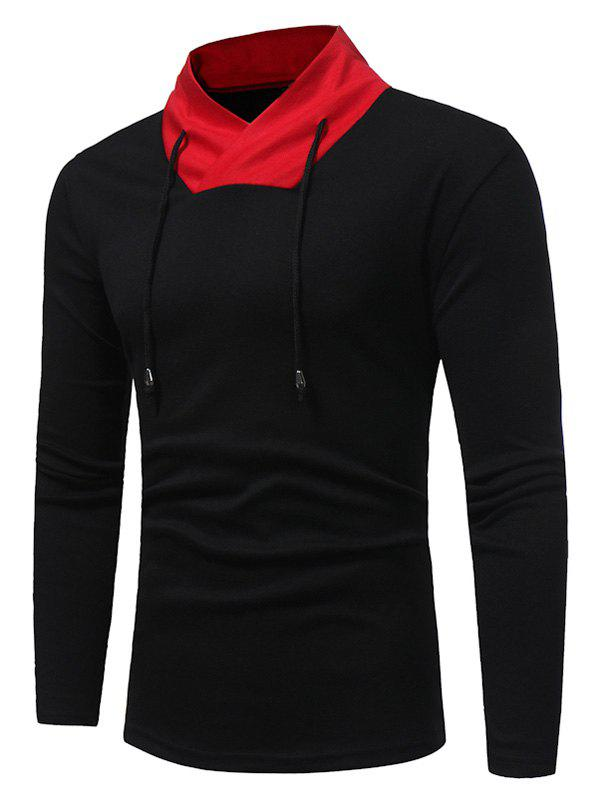 Color Block Shawl Collar Drawstring T-shirtMEN<br><br>Size: 2XL; Color: BLACK; Material: Cotton,Polyester; Sleeve Length: Full; Collar: Stand Collar; Style: Casual,Fashion,Streetwear; Pattern Type: Color Block; Season: Fall; Weight: 0.3400kg; Package Contents: 1 x T-shirt;