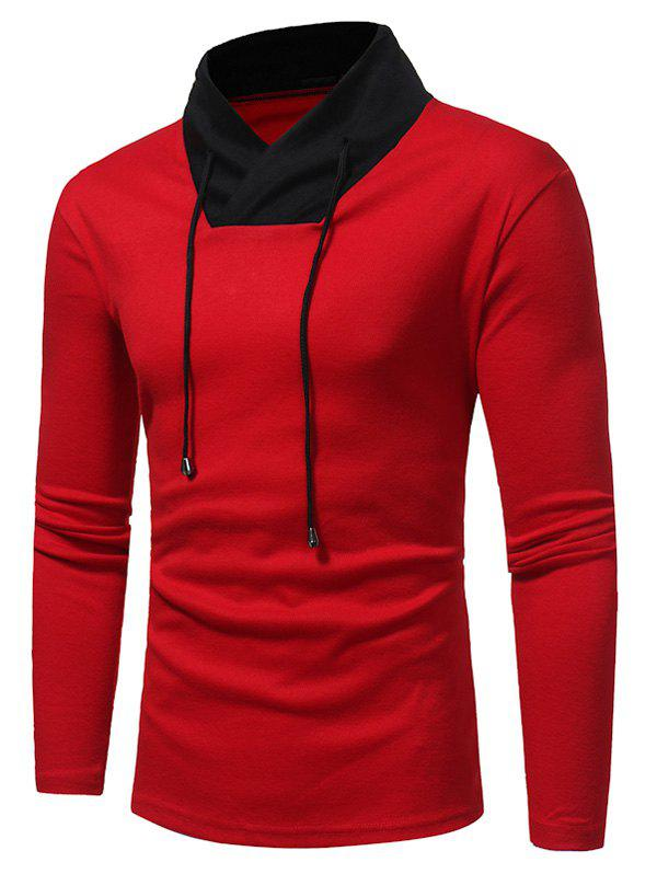 Color Block Shawl Collar Drawstring T-shirtMEN<br><br>Size: L; Color: RED; Material: Cotton,Polyester; Sleeve Length: Full; Collar: Stand Collar; Style: Casual,Fashion,Streetwear; Pattern Type: Color Block; Season: Fall; Weight: 0.3400kg; Package Contents: 1 x T-shirt;