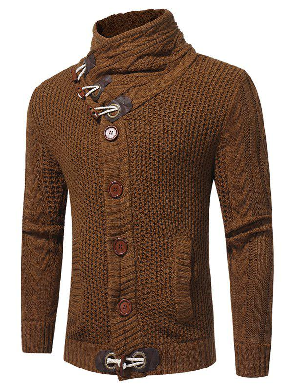 Horn Button Cowl Neck Single Breasted CardiganMEN<br><br>Size: L; Color: CAMEL; Type: Cardigans; Material: Cotton,Polyester; Sleeve Length: Full; Collar: Cowl Neck; Style: Fashion; Weight: 0.7900kg; Package Contents: 1 x Cardigan;