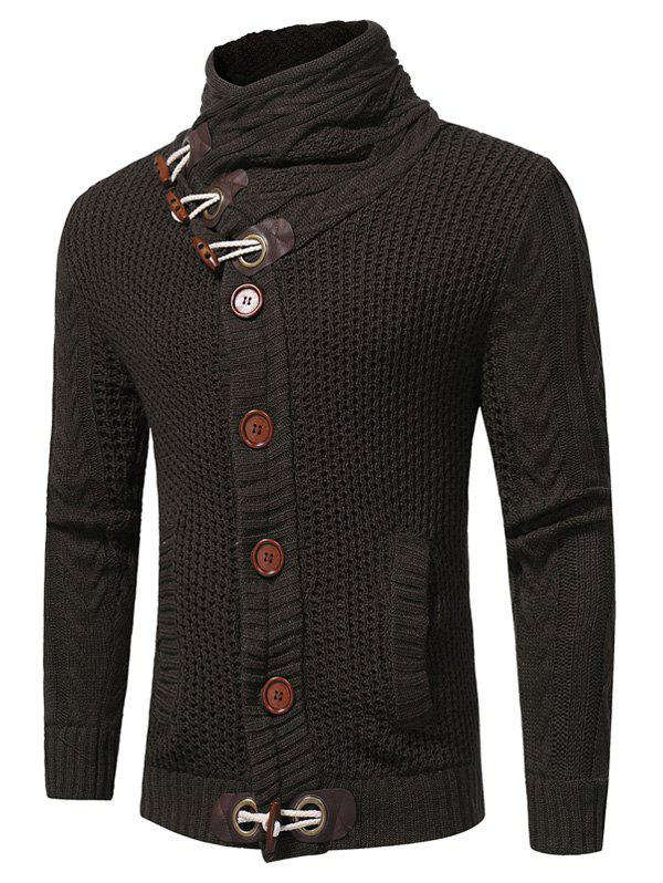 Horn Button Cowl Neck Single Breasted CardiganMEN<br><br>Size: L; Color: DEEP GRAY; Type: Cardigans; Material: Cotton,Polyester; Sleeve Length: Full; Collar: Cowl Neck; Style: Fashion; Weight: 0.7900kg; Package Contents: 1 x Cardigan;