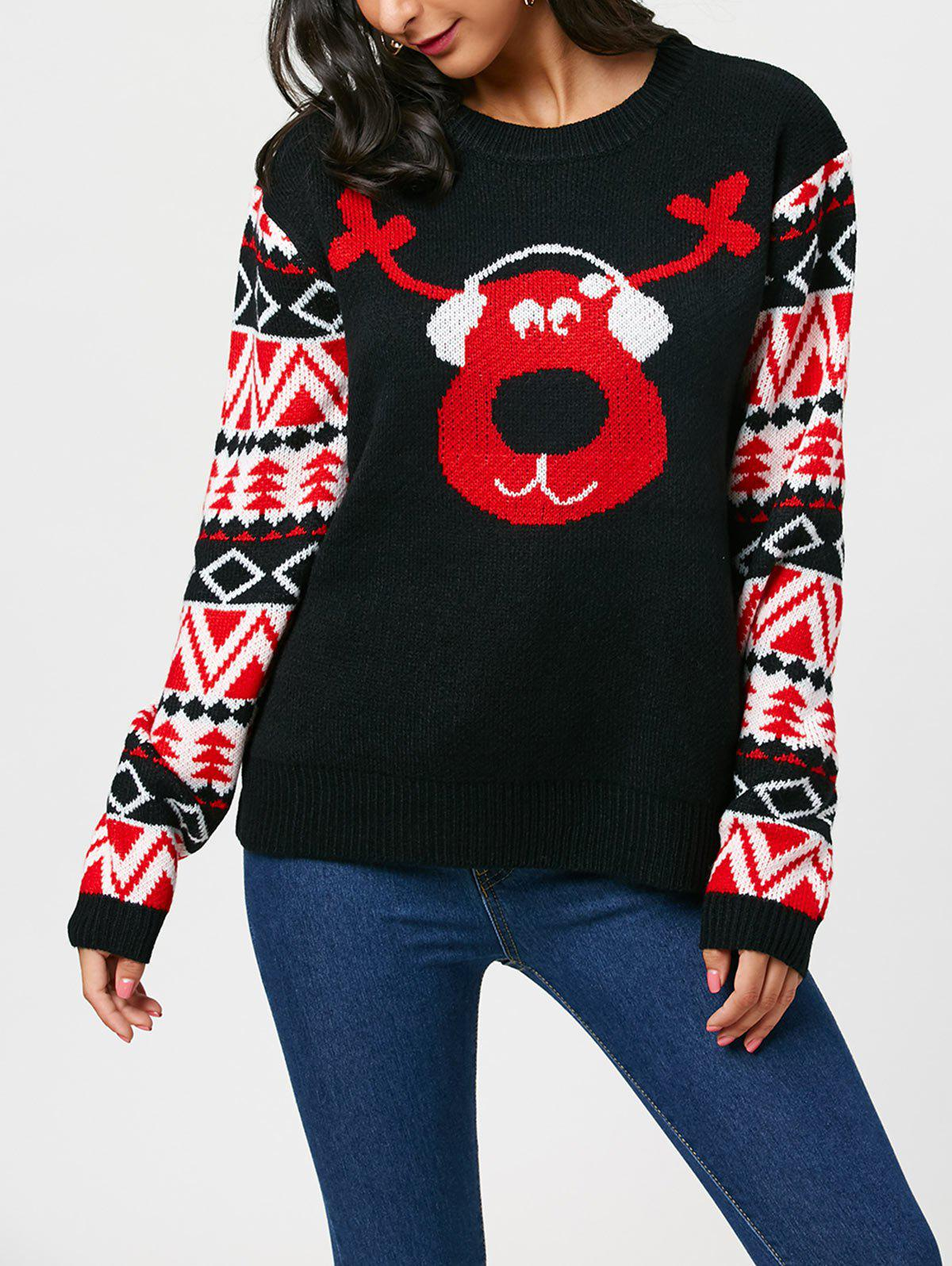 Christmas Reindeer Listen Music SweaterWOMEN<br><br>Size: ONE SIZE; Color: BLACK; Type: Pullovers; Material: Acrylic,Polyester; Sleeve Length: Full; Collar: Round Neck; Style: Fashion; Pattern Type: Character; Season: Fall,Spring,Winter; Elasticity: Micro-elastic; Weight: 0.5000kg; Package Contents: 1 x Sweater;