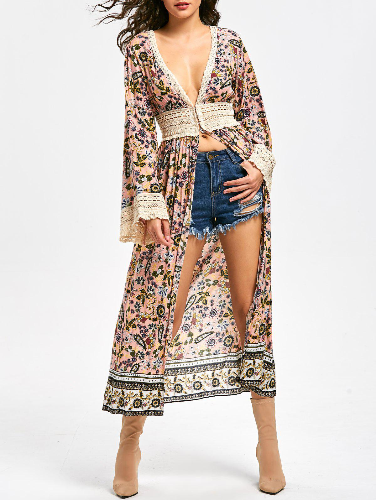 Discount Floral Lace Panel Long Sleeve Longline Top