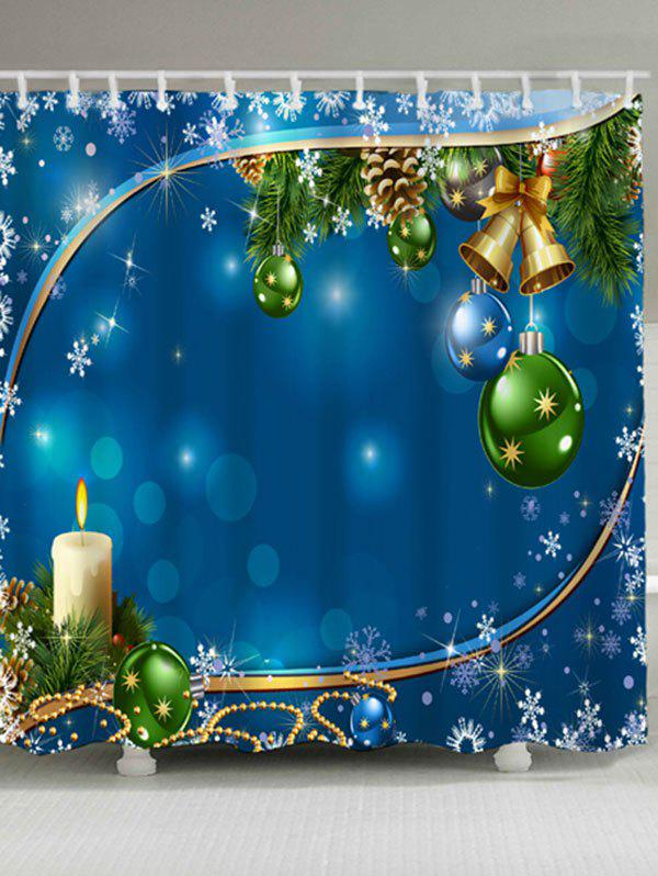 Christmas Bell Ball Waterproof Fabric Shower CurtainHOME<br><br>Size: W71 INCH * L79 INCH; Color: BLUE; Products Type: Shower Curtains; Materials: Polyester; Pattern: Ball,Snowflake; Style: Festival; Number of Hook Holes: W59 inch*L71 inch: 10; W71 inch*L71 inch: 12; W71 inch*L79 inch: 12; Package Contents: 1 x Shower Curtain 1 x Hooks (Set);