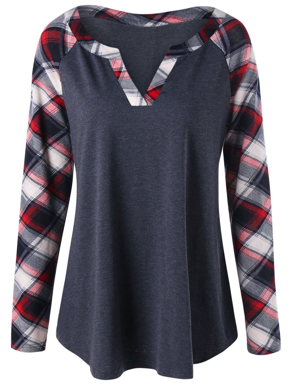 Latest Plus Size Raglan Sleeve Plaid T-shirt