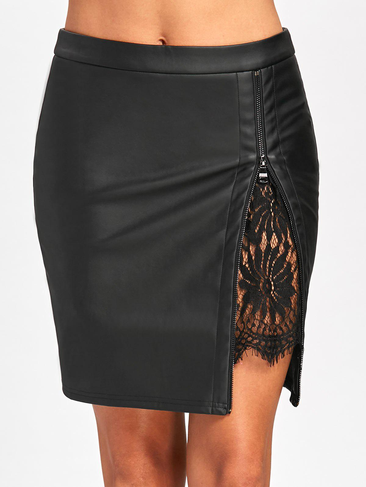 Latest Lace Insert Faux Leather Bodycon Skirt