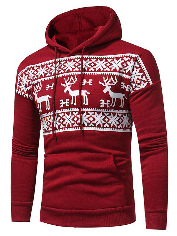 New Snow and Reindeer Print Fleece Pullover Hoodie