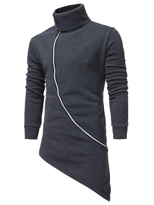 Fashion Oblique Zip Up Asymmetrical Longline Hoodie