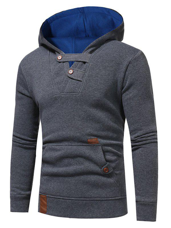 Affordable Color Block Hooded Buttons Fleece Hoodie