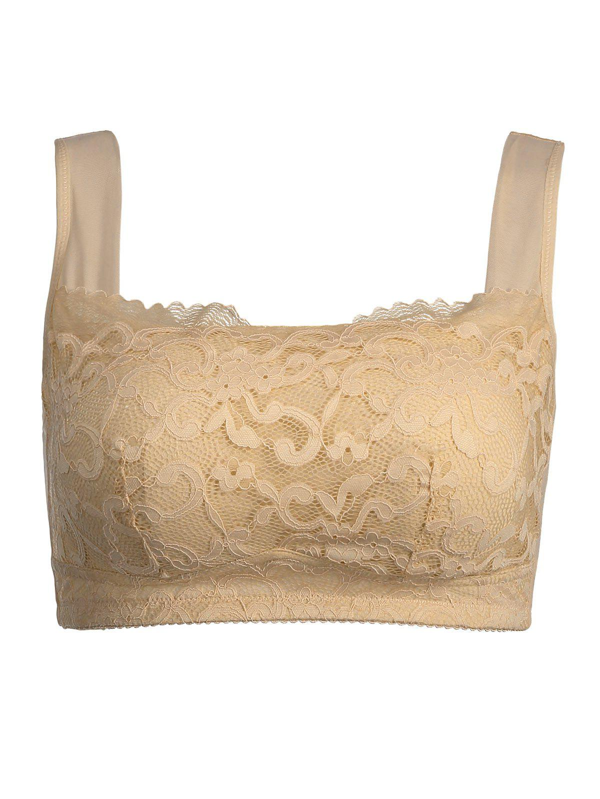 Lace Trim Padded Wirefree Plus Size BraWOMEN<br><br>Size: 3XL; Color: COMPLEXION; Materials: Nylon,Polyester,Spandex; Bra Style: Padded; Cup Shape: Full Cup; Support Type: Wire Free; Strap Type: Non-adjusted Straps; Closure Style: Three Hook-and-eye; Pattern Type: Solid; Embellishment: Lace; Style: Everyday; Weight: 0.2000kg; Package Contents: 1 x Bra;