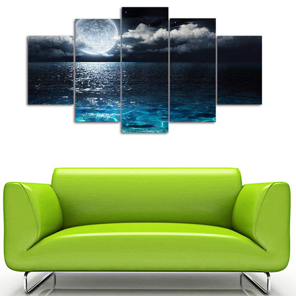 Wall Art Sea Moon Night Print Split Canvas Paintings