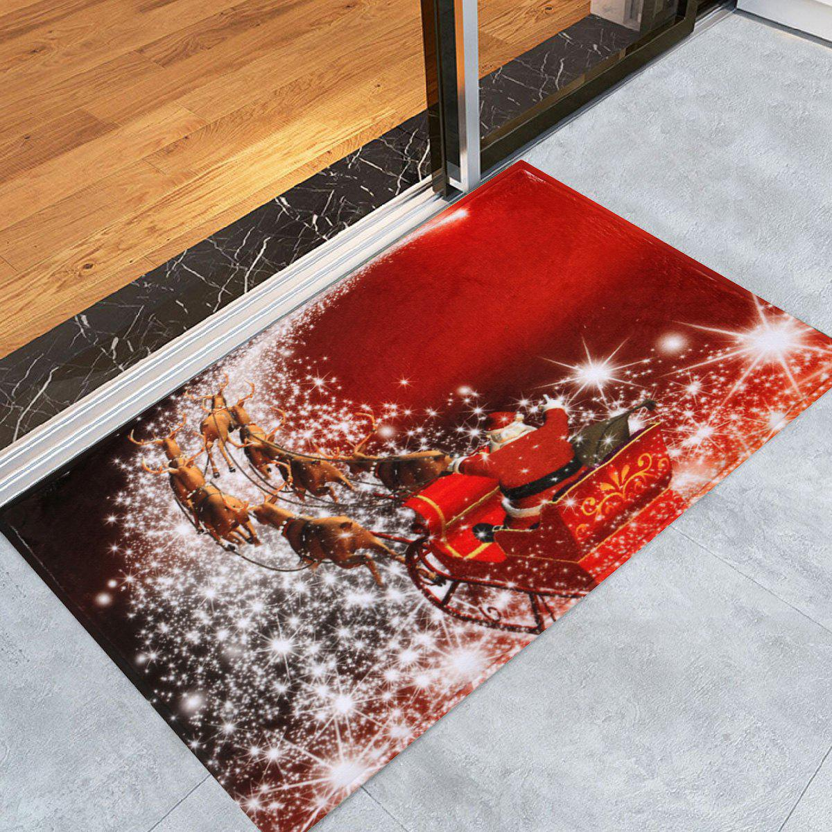 Christmas Sled Print Antislip Bath MatHOME<br><br>Size: W24 INCH * L35.5 INCH; Color: RED; Products Type: Bath rugs; Materials: Coral FLeece; Pattern: Animal,Santa Claus; Style: Festival; Shape: Rectangular; Package Contents: 1 x Rug;