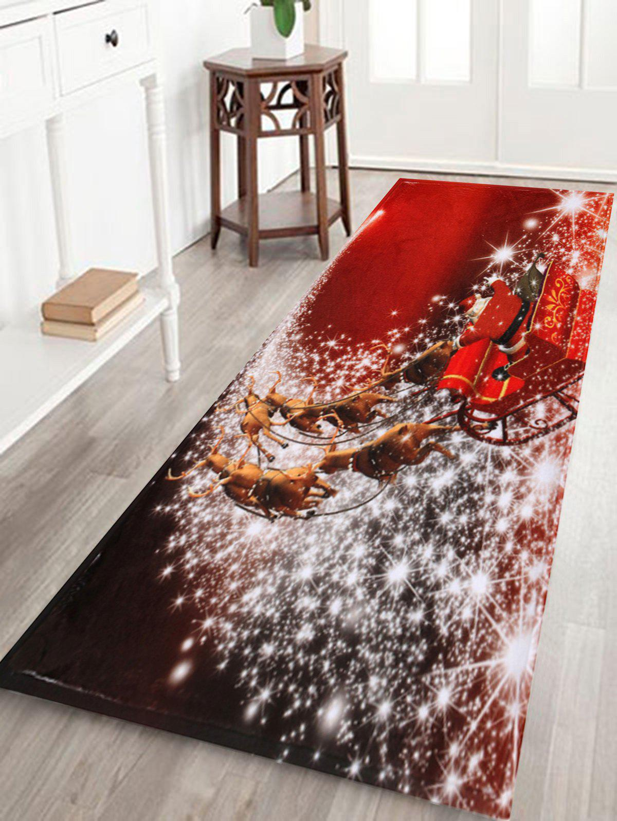 Christmas Sled Print Antislip Bath MatHOME<br><br>Size: W16 INCH * L47 INCH; Color: RED; Products Type: Bath rugs; Materials: Coral FLeece; Pattern: Animal,Santa Claus; Style: Festival; Shape: Rectangular; Package Contents: 1 x Rug;