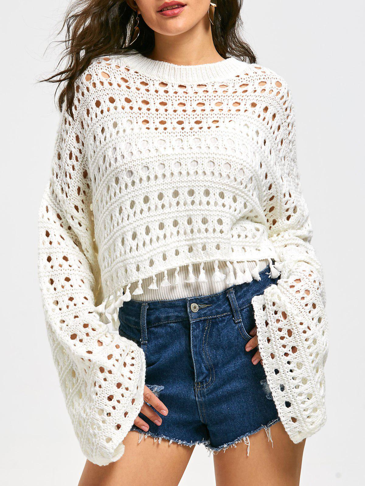 Cheap Drop Shoulder Flare Sleeve Crochet Crop Sweater