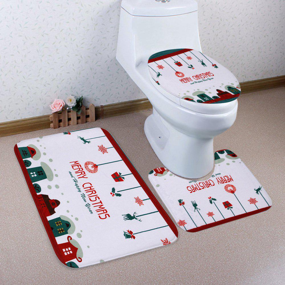 Ensemble de tapis de toilette imprimé Printemps 3Pcs