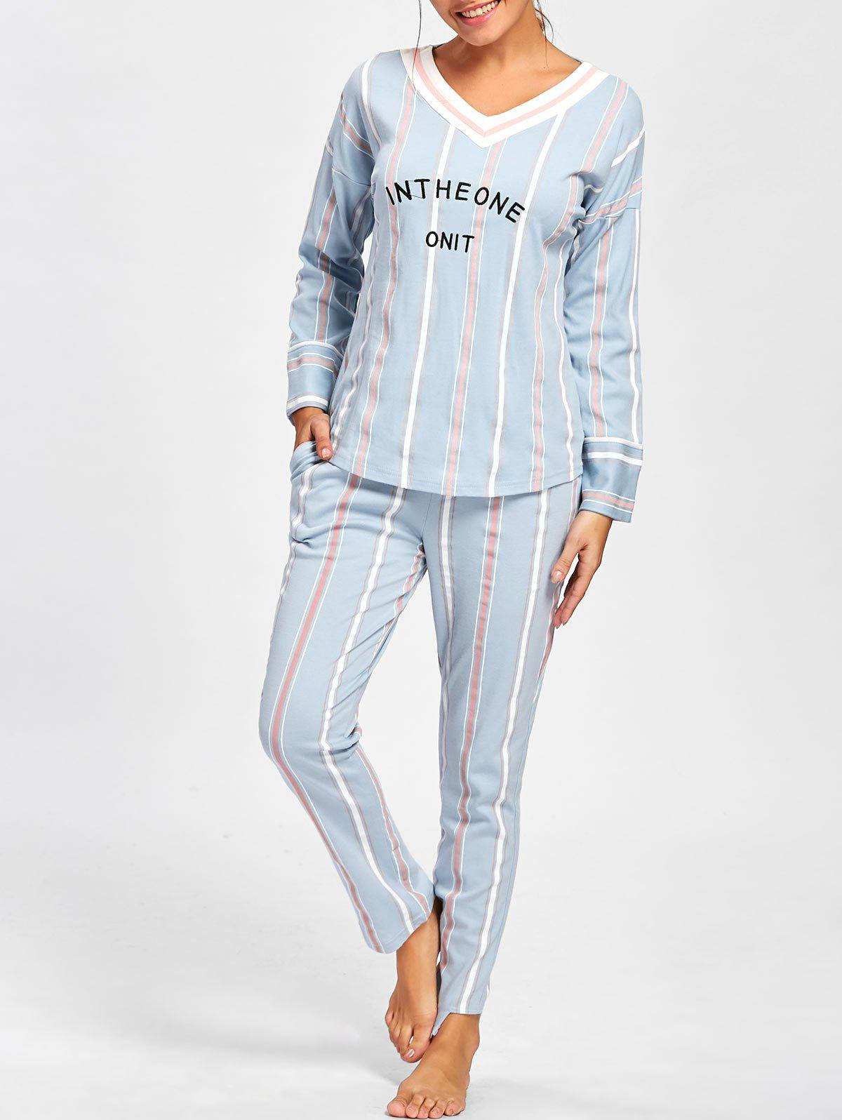 Chic V Neck Striped Sleepwear Set