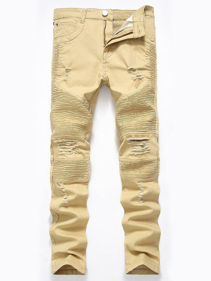 Straight Color Wash Ripped Moto JeansMEN<br><br>Size: 36; Color: DARK KHAKI; Material: Cotton,Polyester; Pant Length: Long Pants; Fabric Type: Denim; Wash: Colored; Fit Type: Regular; Waist Type: Mid; Closure Type: Zipper Fly; Weight: 0.6700kg; Pant Style: Straight; Package Contents: 1 x Jeans; With Belt: No;