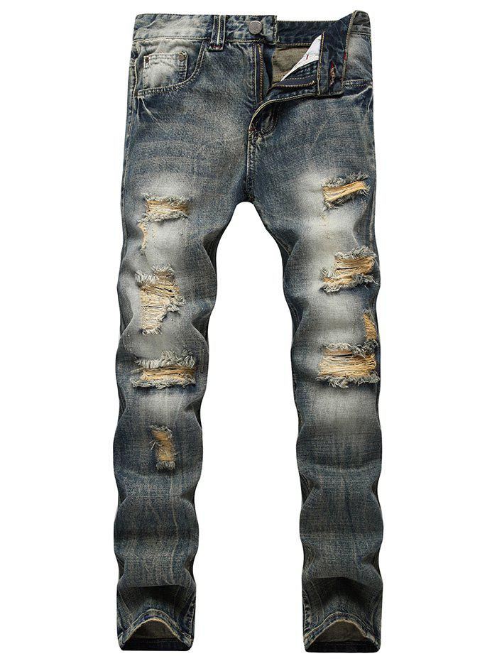 Fancy Faded Wash Slim Fit Ripped Jeans