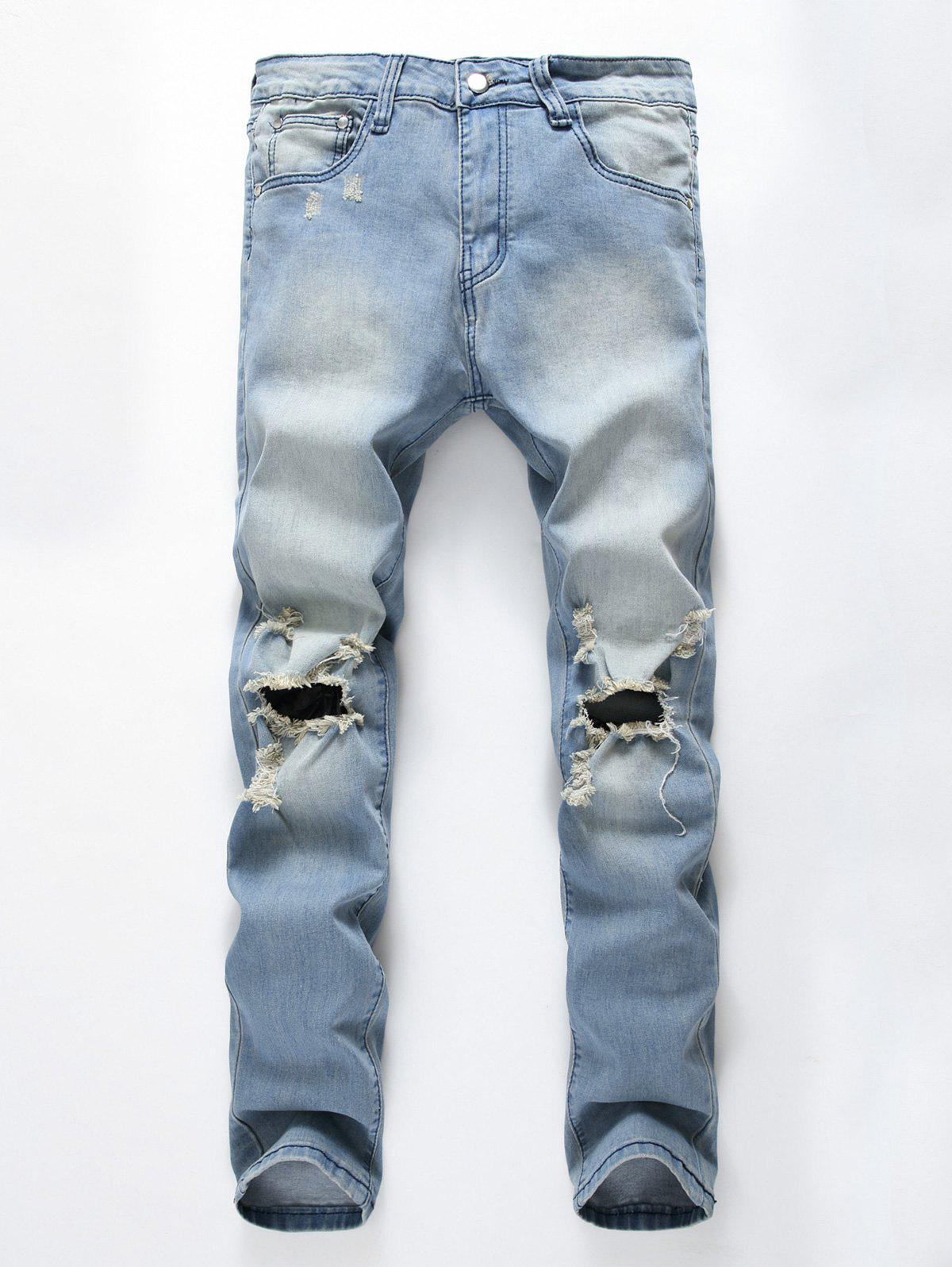Sale Faded Wash Heavy Distressed Skinny Jeans