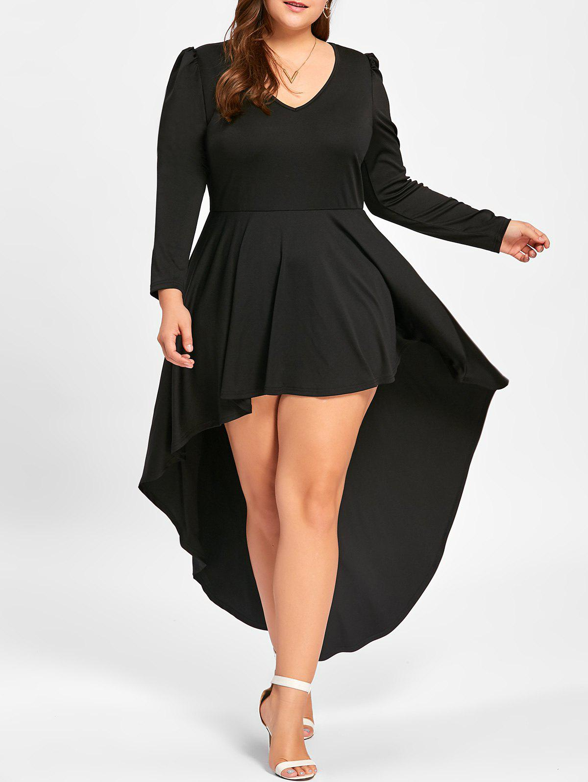Plus Size Long Sleeve Cocktail DressWOMEN<br><br>Size: 4XL; Color: BLACK; Style: Club; Material: Polyester,Spandex; Silhouette: A-Line; Dresses Length: Ankle-Length; Neckline: V-Neck; Sleeve Length: Long Sleeves; Pattern Type: Solid Color; With Belt: No; Season: Fall,Spring; Weight: 0.4500kg; Package Contents: 1 x Dress;