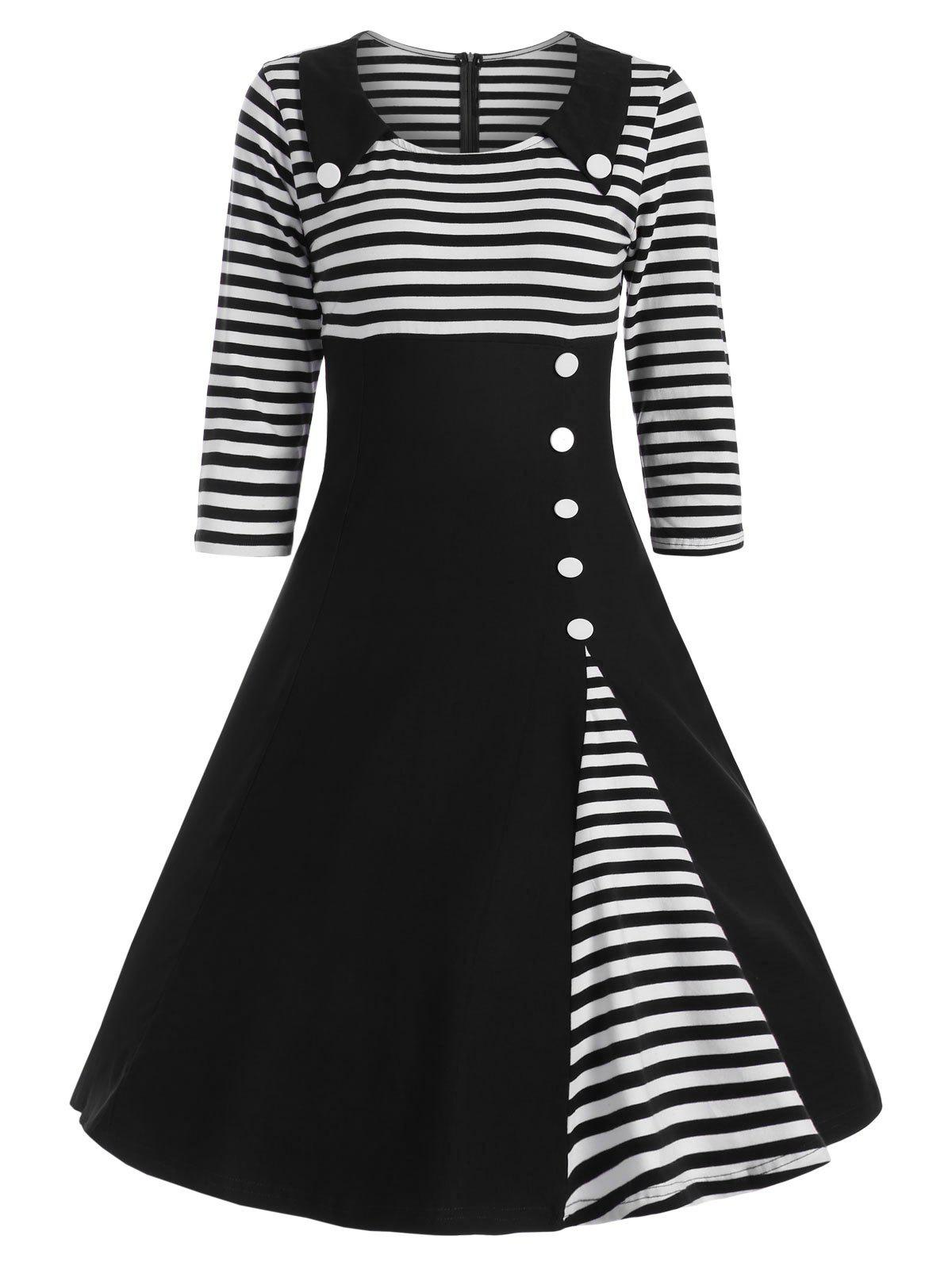Button Embellished Striped A Line Vintage DressWOMEN<br><br>Size: S; Color: BLACK; Style: Vintage; Material: Polyester,Spandex; Silhouette: A-Line; Dresses Length: Knee-Length; Neckline: Round Collar; Sleeve Length: 3/4 Length Sleeves; Embellishment: Button; Pattern Type: Striped; With Belt: No; Season: Fall,Spring; Weight: 0.4200kg; Package Contents: 1 x Dress;