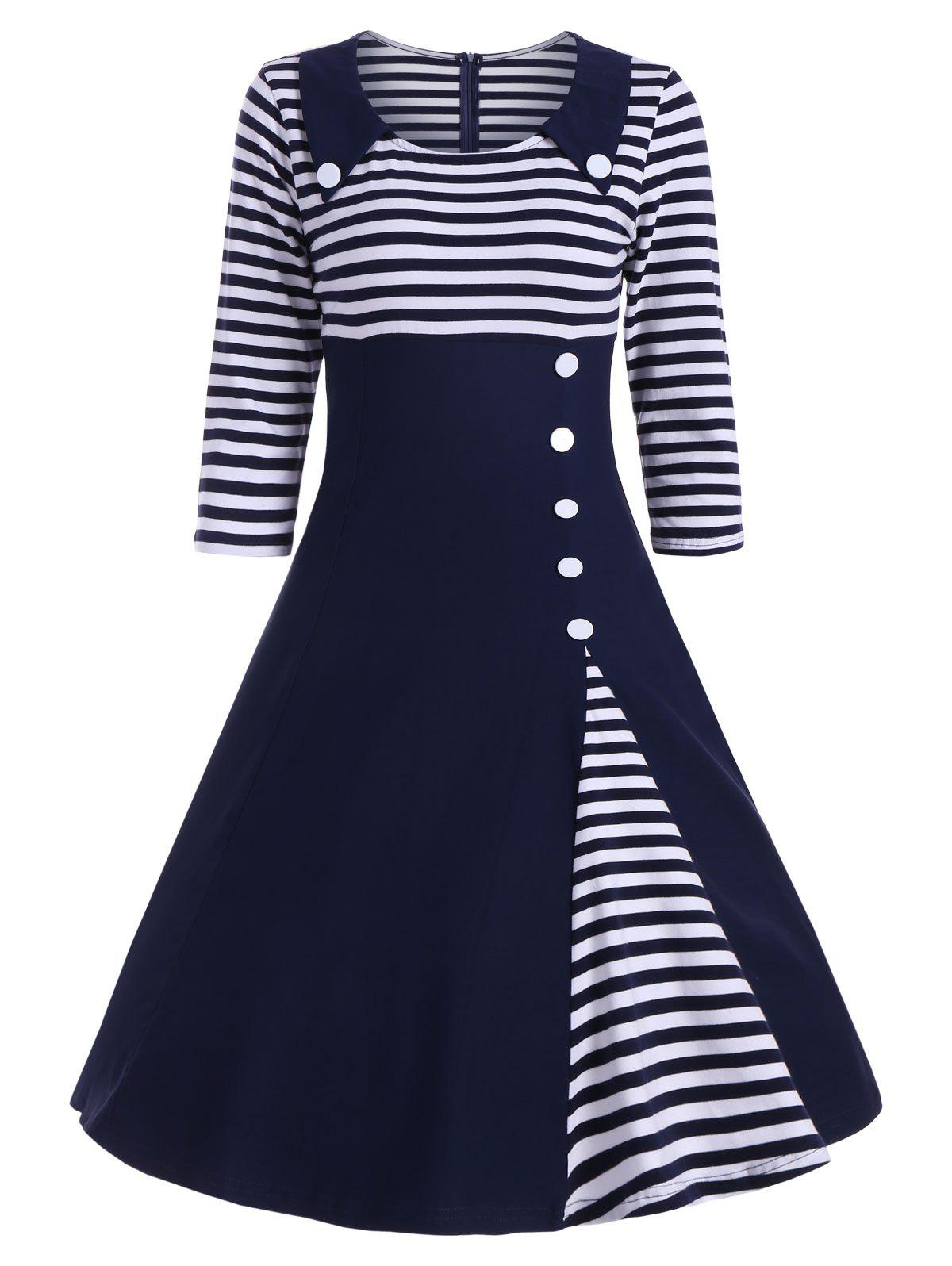 Button Embellished Striped A Line Vintage DressWOMEN<br><br>Size: 2XL; Color: DEEP BLUE; Style: Vintage; Material: Polyester,Spandex; Silhouette: A-Line; Dresses Length: Knee-Length; Neckline: Round Collar; Sleeve Length: 3/4 Length Sleeves; Embellishment: Button; Pattern Type: Striped; With Belt: No; Season: Fall,Spring; Weight: 0.4200kg; Package Contents: 1 x Dress;