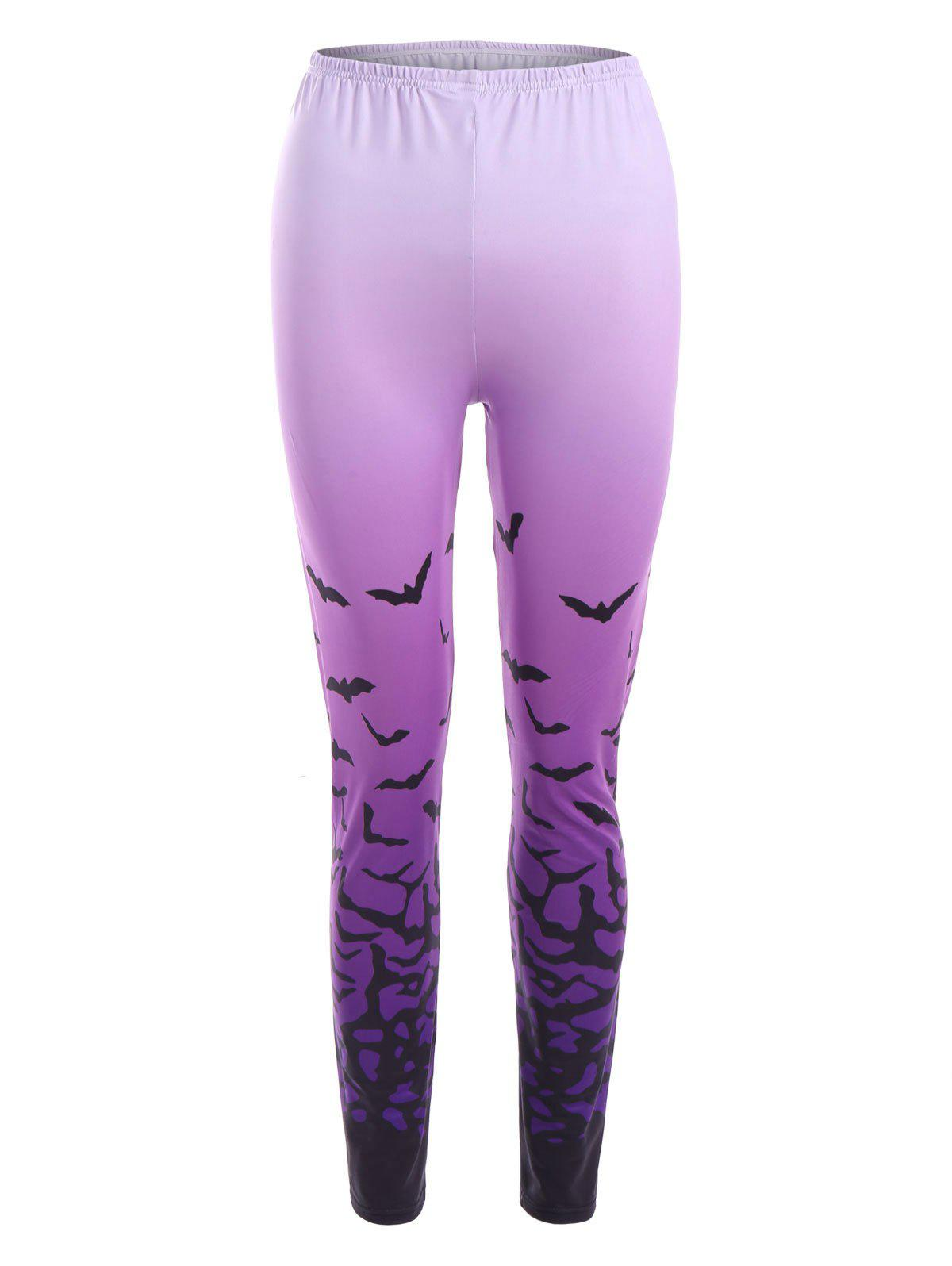 Bat Ombre Print Halloween LeggingsWOMEN<br><br>Size: XL; Color: PURPLE; Style: Novelty; Material: Polyester,Spandex; Waist Type: Mid; Pattern Type: Others; Weight: 0.2000kg; Package Contents: 1 x Leggings;