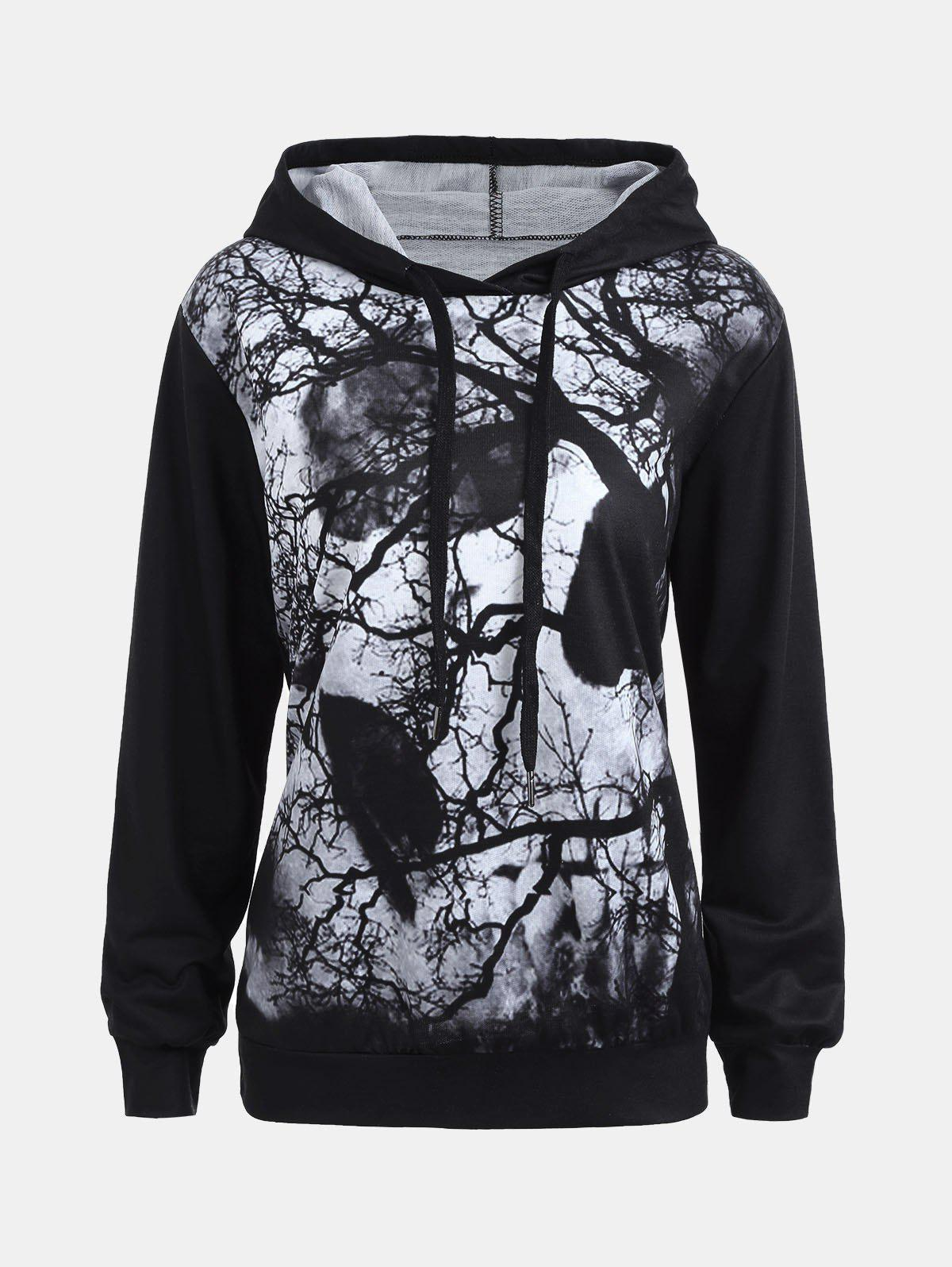 Dark Forest Skull Print Halloween HoodieWOMEN<br><br>Size: L; Color: BLACK; Material: Polyester; Shirt Length: Regular; Sleeve Length: Full; Style: Gothic; Pattern Style: Plant,Print,Skulls; Elasticity: Micro-elastic; Season: Fall,Spring,Winter; Weight: 0.3300kg; Package Contents: 1 x Hoodie;