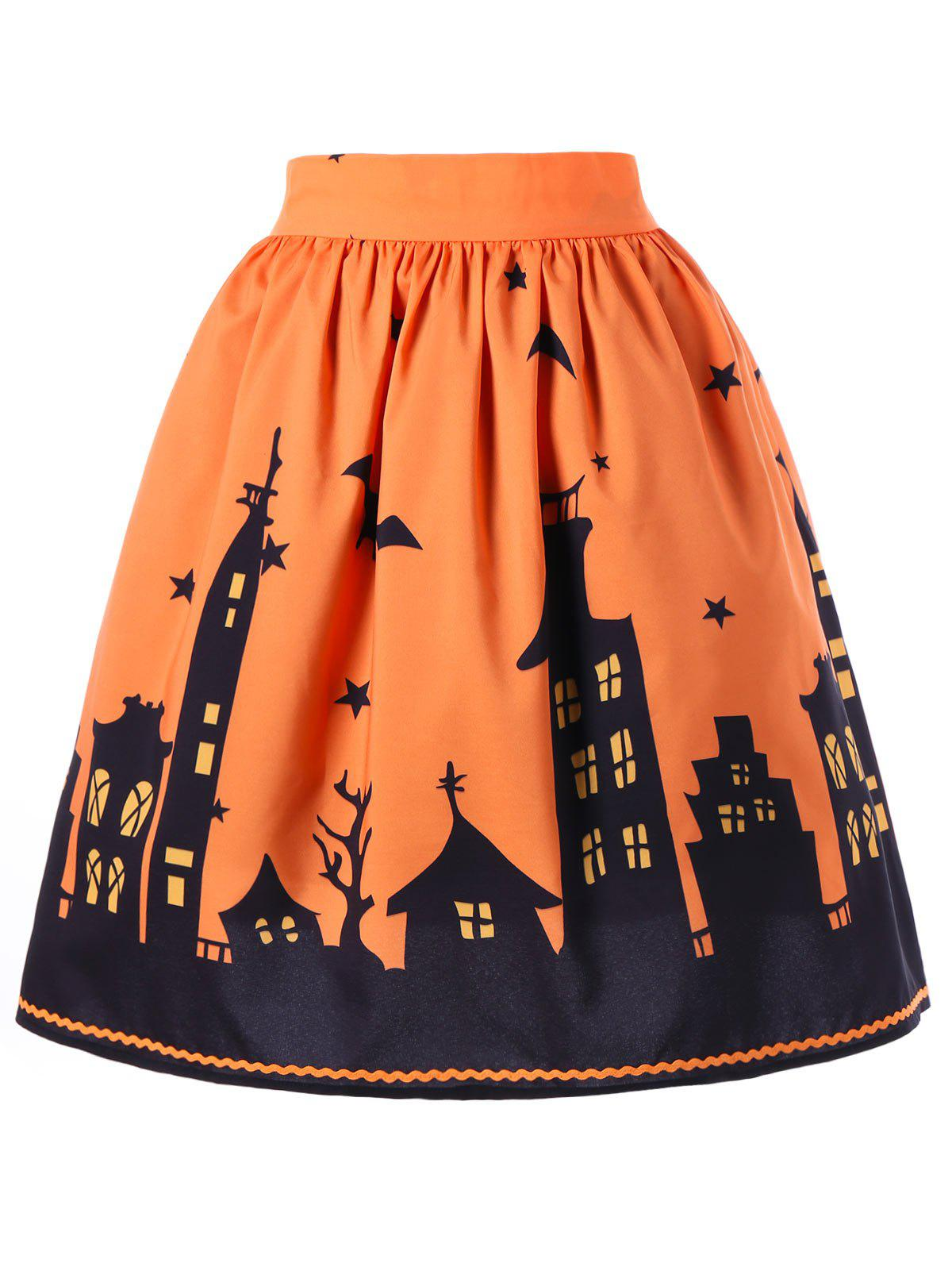 Halloween Bat Print A-line SkirtWOMEN<br><br>Size: M; Color: ORANGE; Material: Polyester; Length: Knee-Length; Silhouette: A-Line; Pattern Type: Others; Season: Fall,Spring; Weight: 0.2000kg; Package Contents: 1 x Skirt;