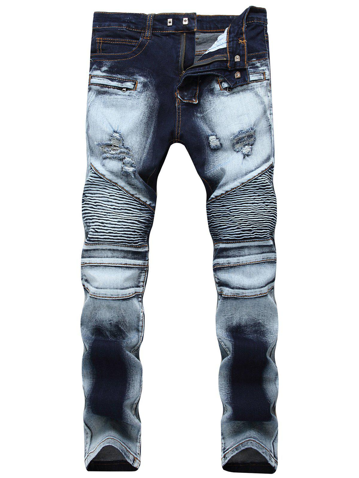 Acid Wash Ripped Biker JeansMEN<br><br>Size: 32; Color: BLUE; Material: Cotton,Polyester,Spandex; Pant Length: Long Pants; Fabric Type: Denim; Wash: Acid Washed; Fit Type: Regular; Waist Type: Mid; Closure Type: Zipper Fly; Weight: 0.7400kg; Pant Style: Straight; Package Contents: 1 x Jeans; With Belt: No;