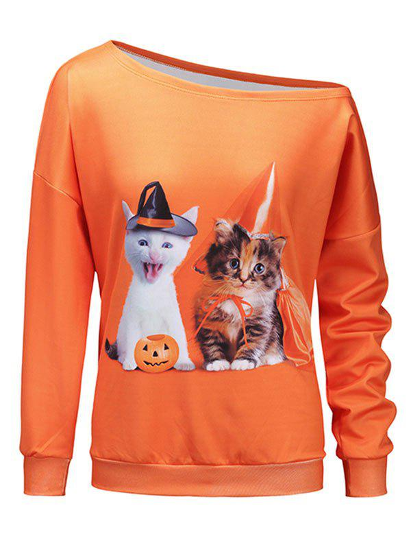 Kitten Pumpkin One Shoulder Halloween Sweatshirt