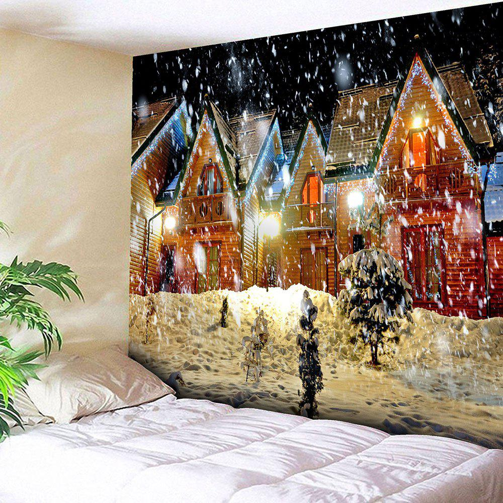 Waterproof Christmas Snowy Evening Pattern Wall Hanging TapestryHOME<br><br>Size: W59 INCH * L51 INCH; Color: COLORFUL; Style: Festival; Theme: Christmas; Material: Velvet; Feature: Removable,Washable,Waterproof; Shape/Pattern: Buildings,Snow; Weight: 0.2100kg; Package Contents: 1 x Tapestry;