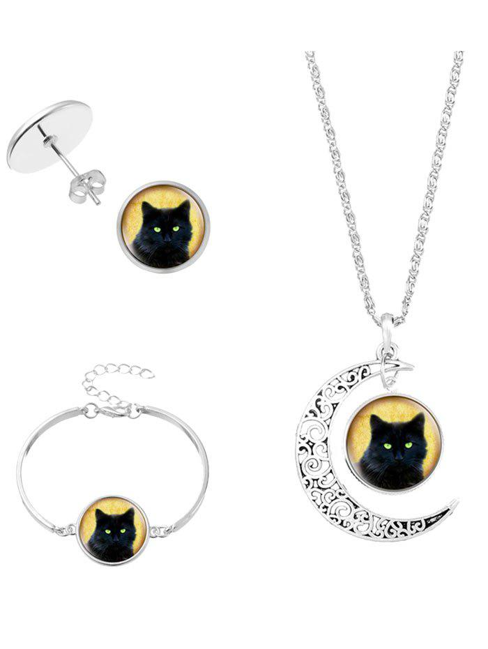 Online Moon Cat Halloween Necklace Bracelet and Earrings